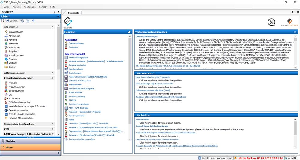 Screenshot aus ExESS als Software zum Erstellen von Betriebsanweisungen